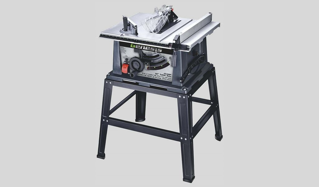 3 Genesis GTS10SB 10 15 Amp Table Saw with Self-Aligning Rip Fence, Oversized Sliding Miter Gauge, Rocket Power Switch, 40T Carbide-Tipped Blade, and Heavy-Duty Metal Stand